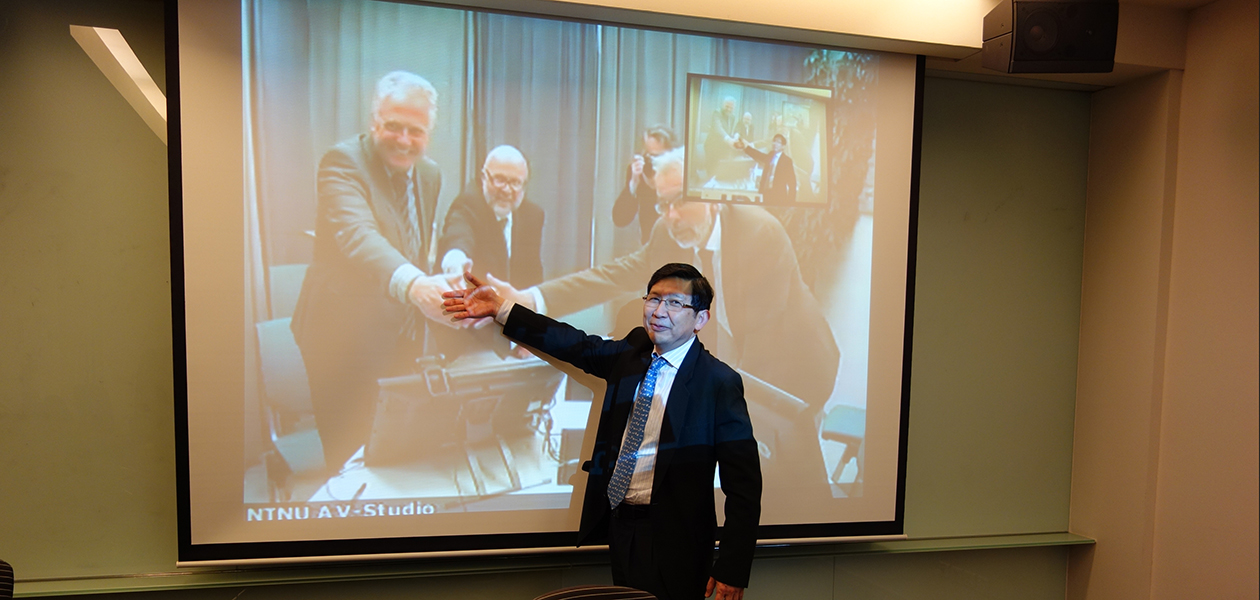(From left) Harald Ellingsen, NTNU Department of Marine Technology, Morten Rien, senior advisor, rector's staff, NTNU and Johan Hustad, NTNU Pro-rector for Innovation exchange a virtual handshake with Dr Lim Khiang Wee, executive of IPI in Singapore.